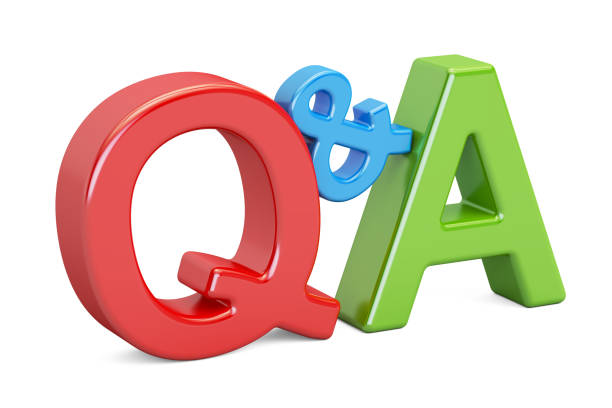 Q&A colorful inscription, 3D rendering isolated on white background vector art illustration