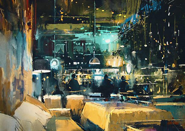 Colorido interior del bar y restaurante en la noche - ilustración de arte vectorial
