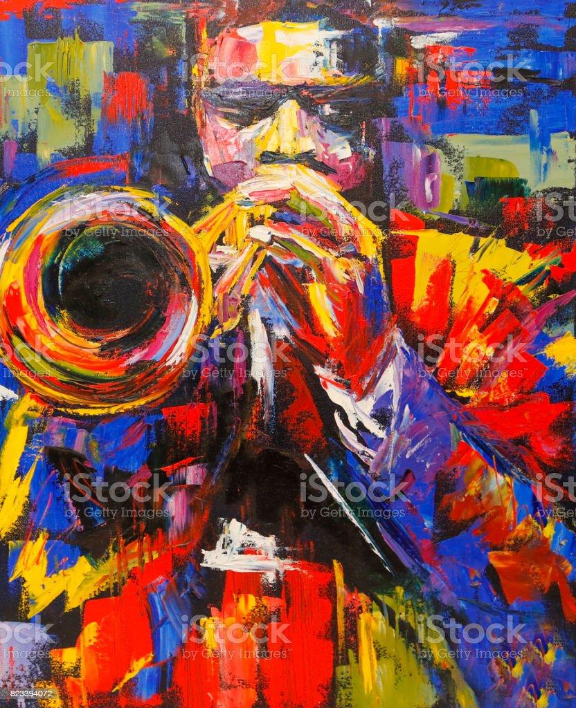 Renkli caz trompetçisi illüstrasyon vektör sanat illüstrasyonu