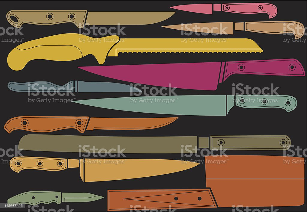 Colorful knives royalty-free stock vector art