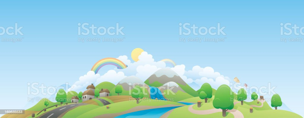Colorful Landscape of Town royalty-free colorful landscape of town stock vector art & more images of backgrounds