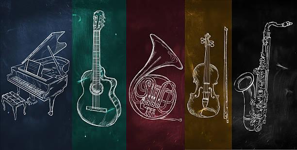 kolorowy muzyka tła - waltornista stock illustrations