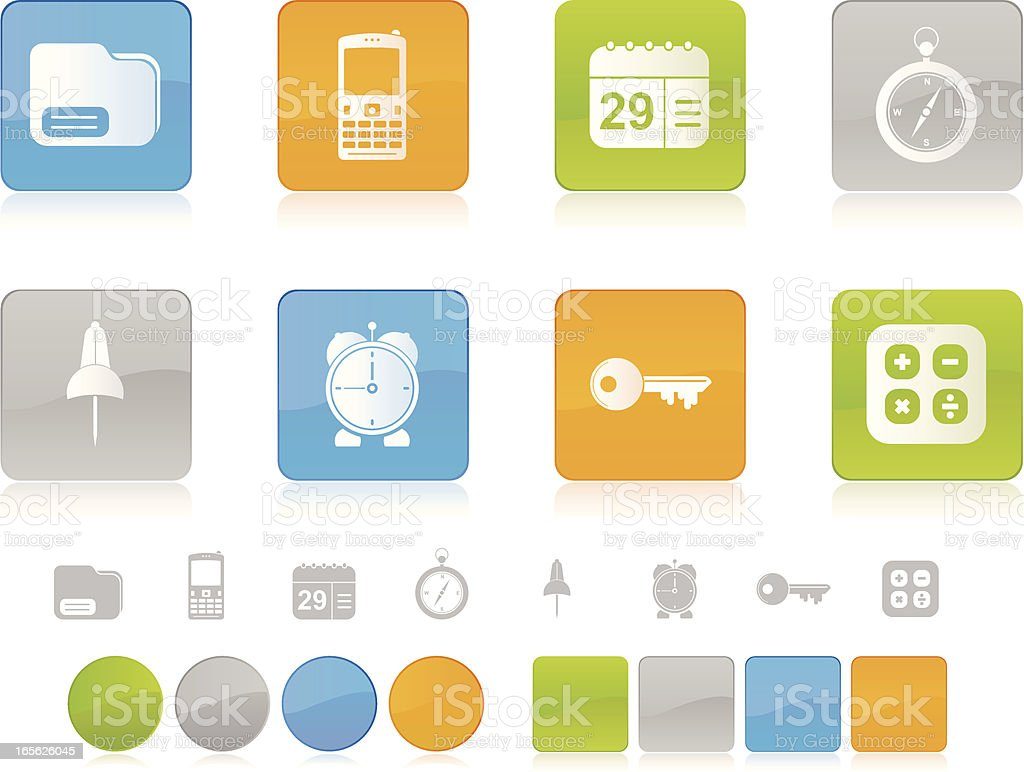 Colorful Office Icons royalty-free stock vector art