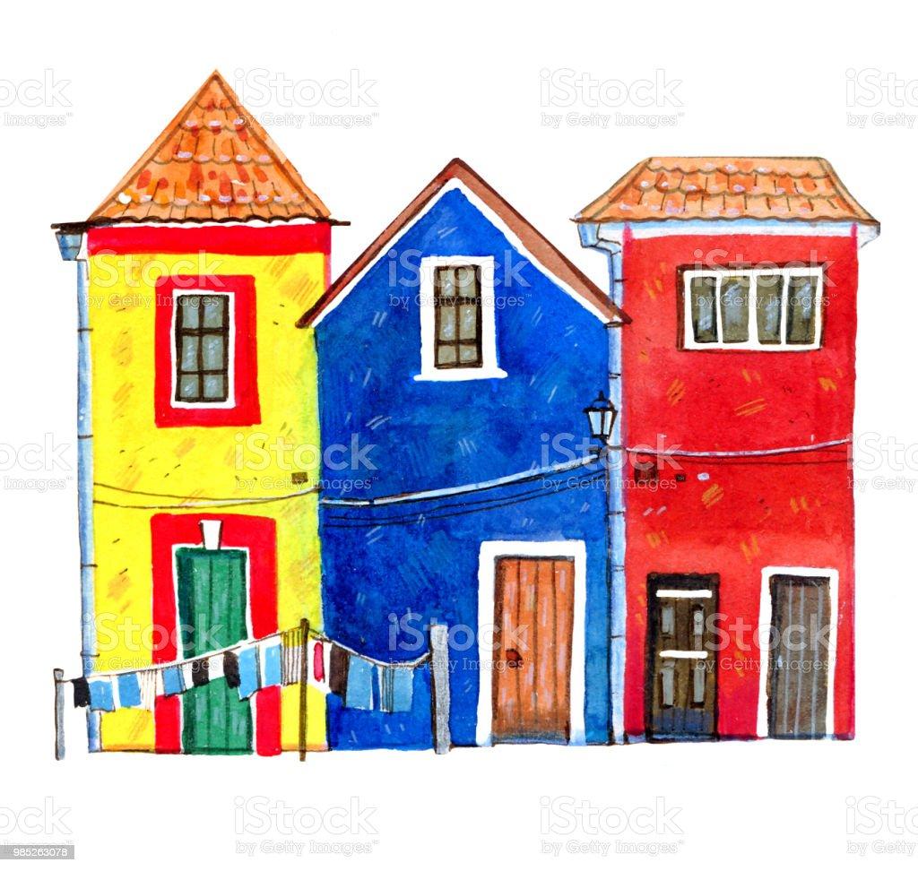 ilustração de casas de pedra europeus velhas coloridas mão desenhado