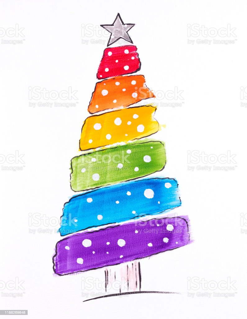 Colorful Painting Of Lgbtqi Rainbow Christmas Tree With Star On Top Stock Illustration Download Image Now Istock