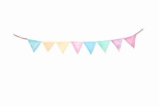 Colorful Party Bunting Flag Watercolor Drawing Isolated On ...
