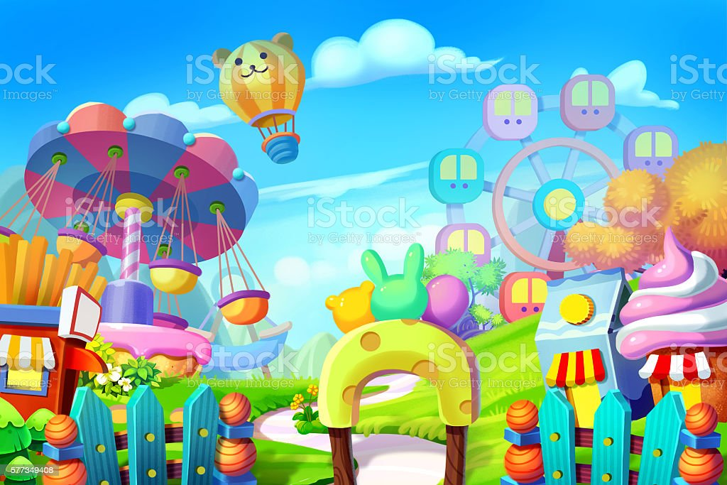 Colorful Playground, Amusement Park. Realistic Fantastic Cartoon Style Artwork vector art illustration