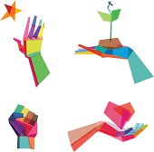"""""""Vector Illustration of colorful, polygonal hands whith transparency in eps 10"""""""