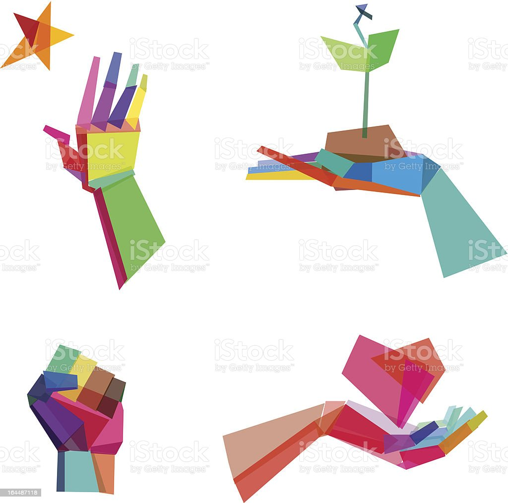 Colorful Polygonal Hands vector art illustration