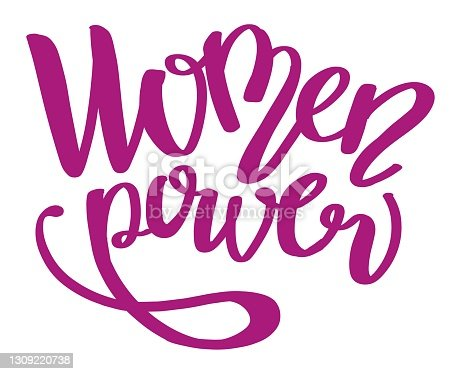 Colorful purple hand writing illustration motivation lettering isolated. Women Power. Can be used for postcard, greeting card, poster, banner, textile, pri