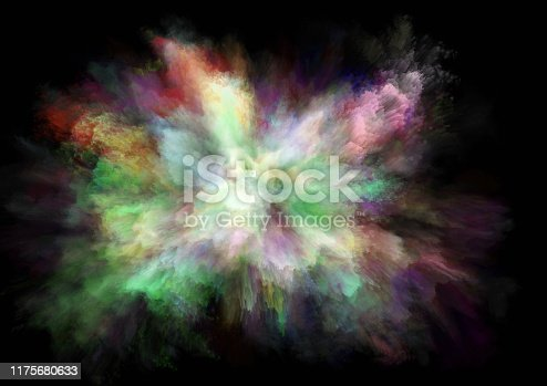 1140073628 istock photo colorful rainbow holi paint color powder explosion isolated black background 1175680633