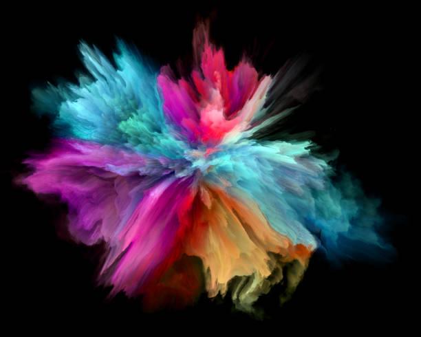 colorful rainbow holi paint color powder explosion isolated black background vector art illustration