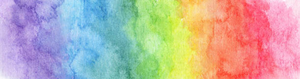colorful rainbow watercolor background - abstract texture - watercolor background stock illustrations, clip art, cartoons, & icons