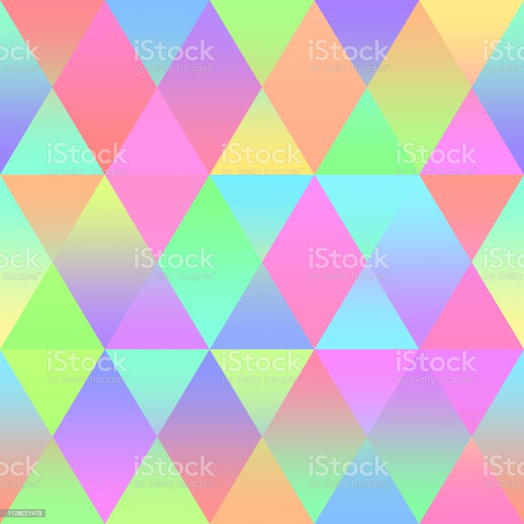 Colorful Rhomb Seamless Pattern Holographic Foil Multi Color Triangle...