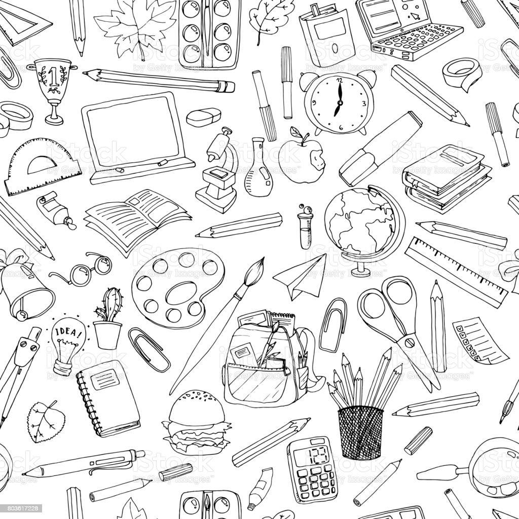 Modèle de l'école coloré. Texture transparente avec crayons, livres, tableau noir et différents objets.  Doodle éléments vectoriels. Au fond de l'école. - Illustration vectorielle