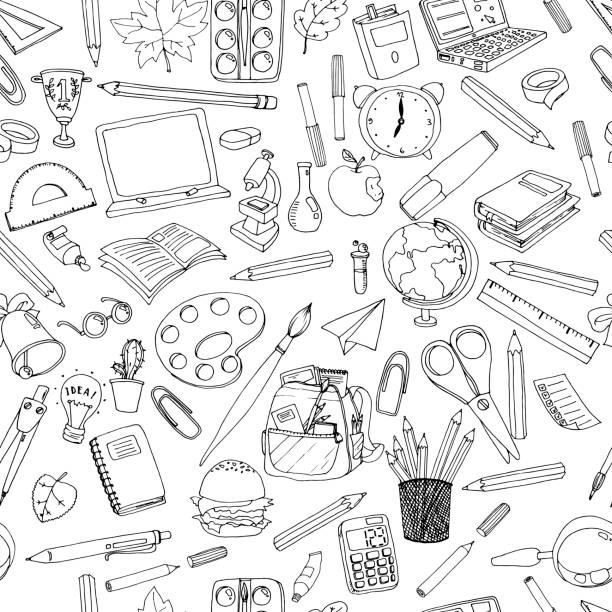 カラフルな学校のパターン。鉛筆、本、黒板、異なるオブジェクトのシームレスなテクスチャです。 ベクター要素を落書き。学校の背景に戻る - 学校の文房具点のイラスト素材/クリップアート素材/マンガ素材/アイコン素材