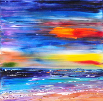 Colorful Seascape Contemporary Art Painting