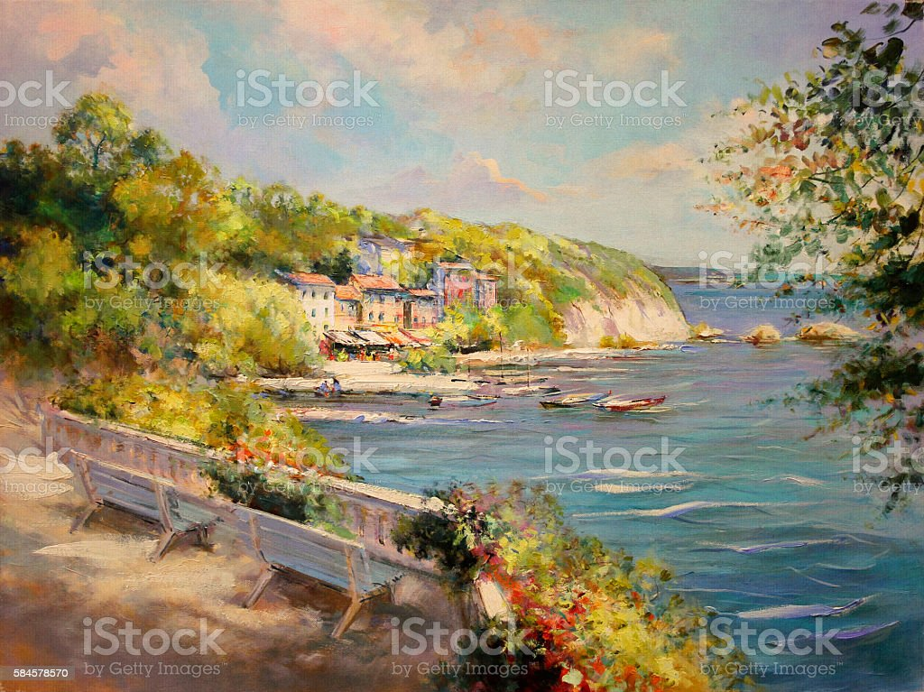 colorful seascape oil painting vintage styled vector art illustration