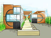 Colorful Sketch of a modern house, Condo.