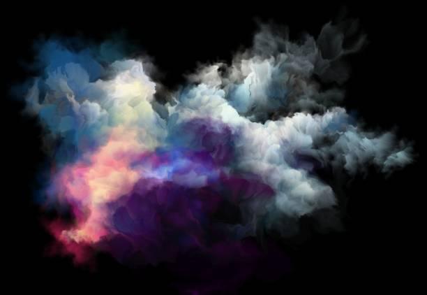 colorful smoke on a black background, art background vector art illustration