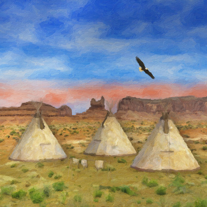 Colorful SouthWestern Native American Painting