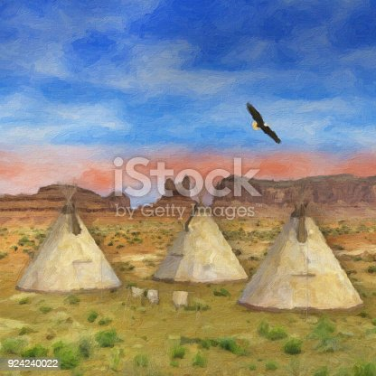 Colorful SouthWestern Native American Painting of three tee pees and eagle