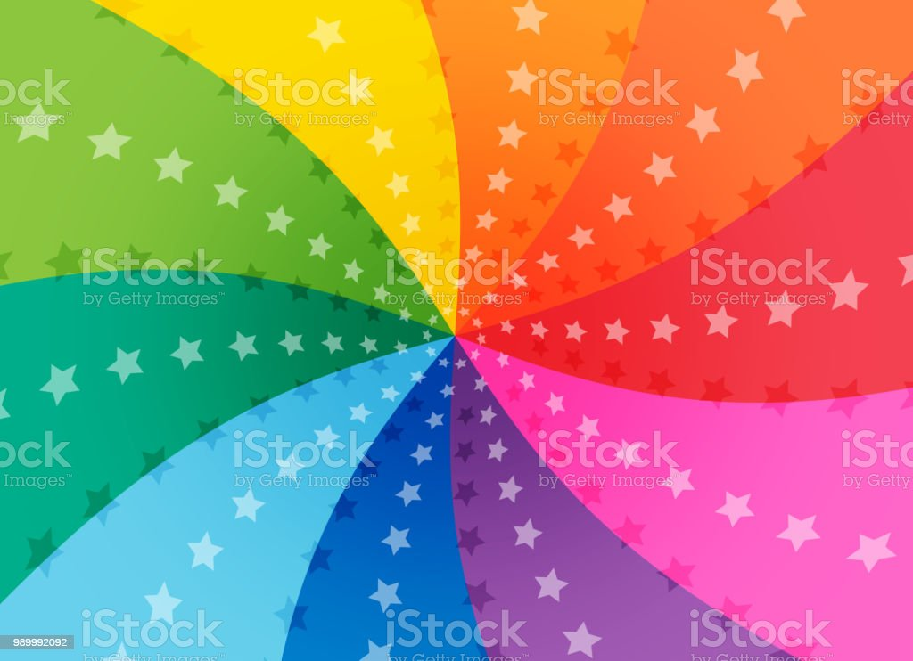 Colorful spiral copy space with star vector art illustration