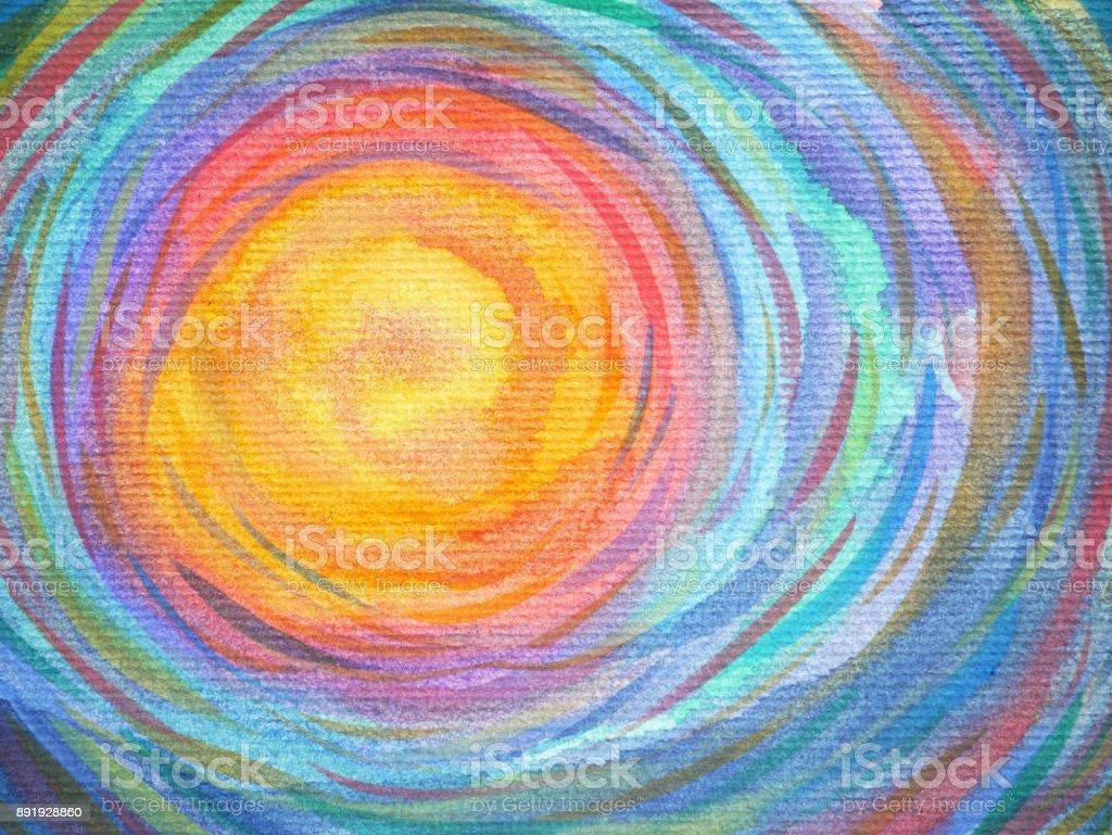 espiral colorido sol poder fundo aquarela pintura - ilustração de arte em vetor