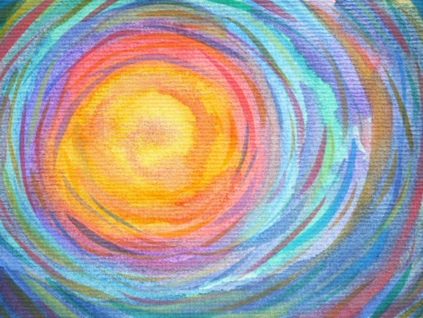 ilustrações, clipart, desenhos animados e ícones de espiral colorido sol poder fundo aquarela pintura - medicina alternativa