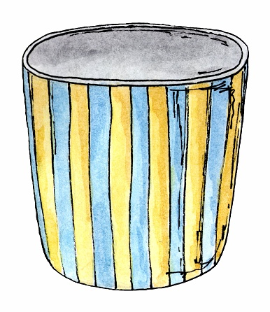 Colorful striped pot for flowers.