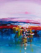 istock Colorful sunset abstract painting 858870634