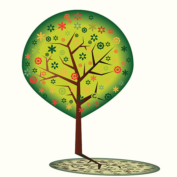 Colorful tree vector art illustration