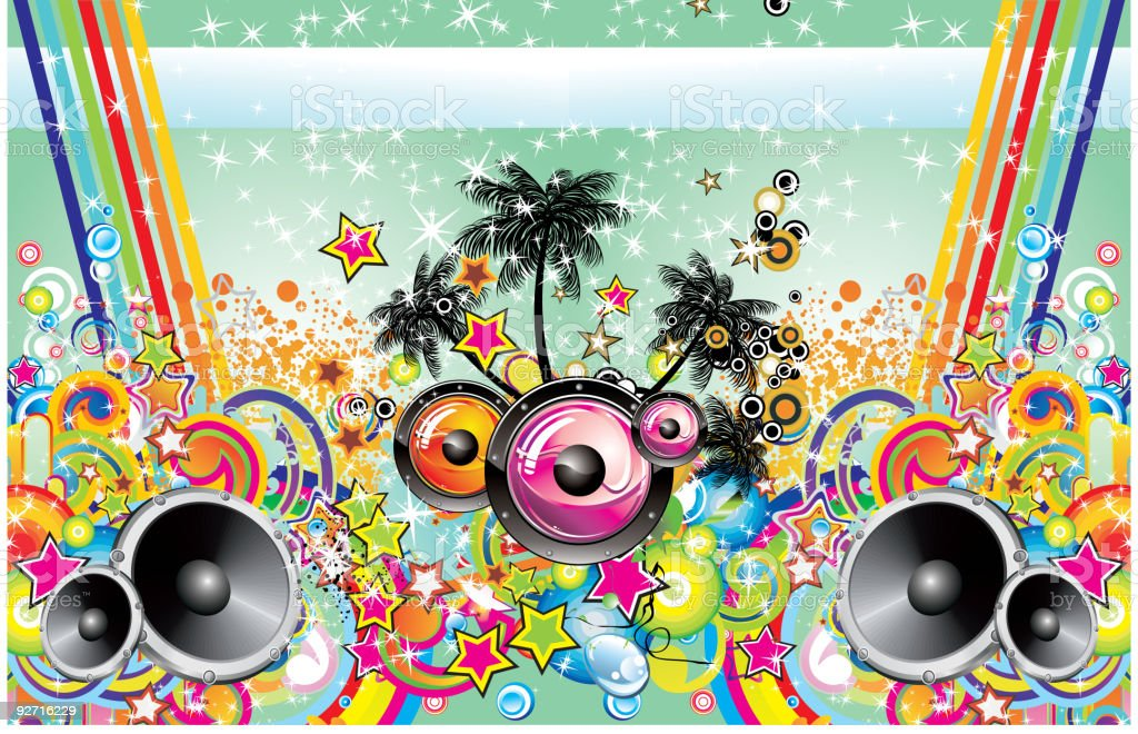 Colorful Tropical Music Background royalty-free stock vector art