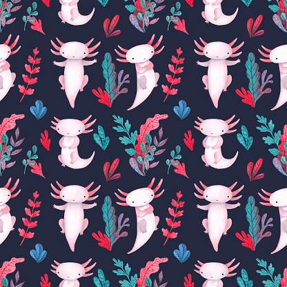Colorful water plants and sea weed pattern with cute axolotl