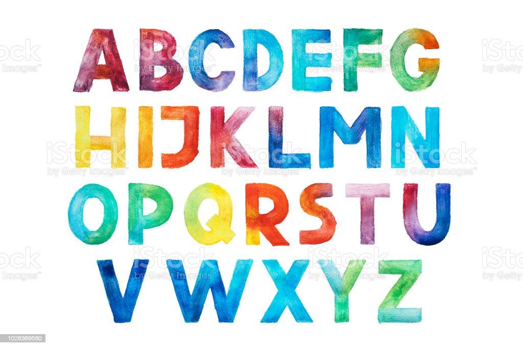 afe4337ae Mão de tipo manuscrito font aquarelle aquarela colorida desenhar letras do  alfabeto abc. vetor de
