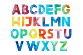 istock Colorful watercolor aquarelle font type handwritten hand draw abc alphabet letters. 1026369560