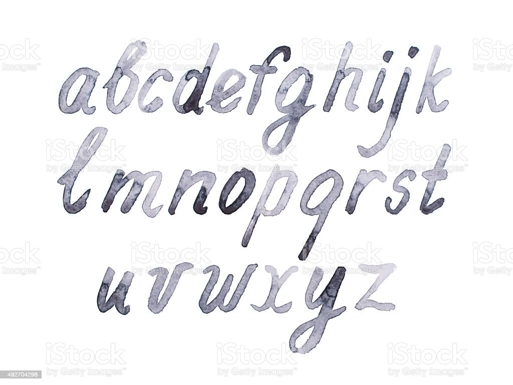 Colorful watercolor aquarelle font type handwritten hand drawn doodle abc vector art illustration