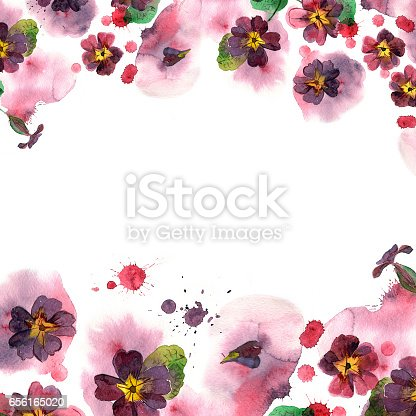 Colorful Watercolor Flower Border Background With