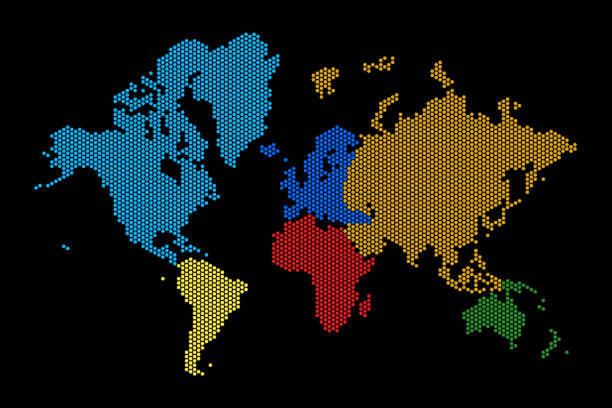 Royalty free world map black background clip art vector images colorful world map dots black background vector art illustration gumiabroncs Gallery