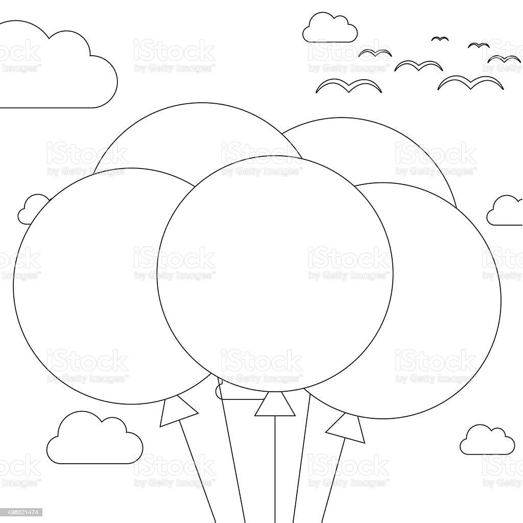 Ilustración de Libro Para Colorear 5 Globos En El Cielo De Fondo y ...