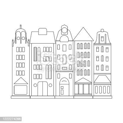 istock Coloring book Dutch houses .Vector illustration in sketch style on an isolated white background. Black linear drawing of buildings, wall drawing 1222274266