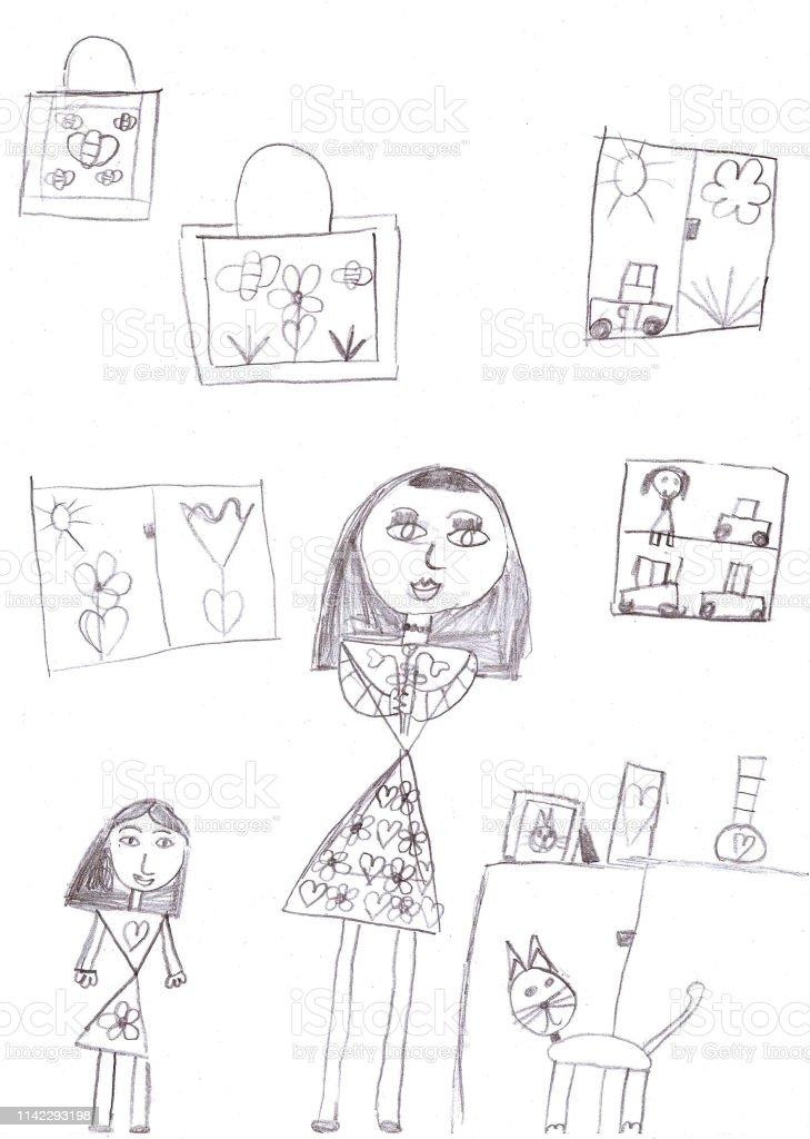 Ilustración De Familia De Libros Para Colorear Para Niños Y Más