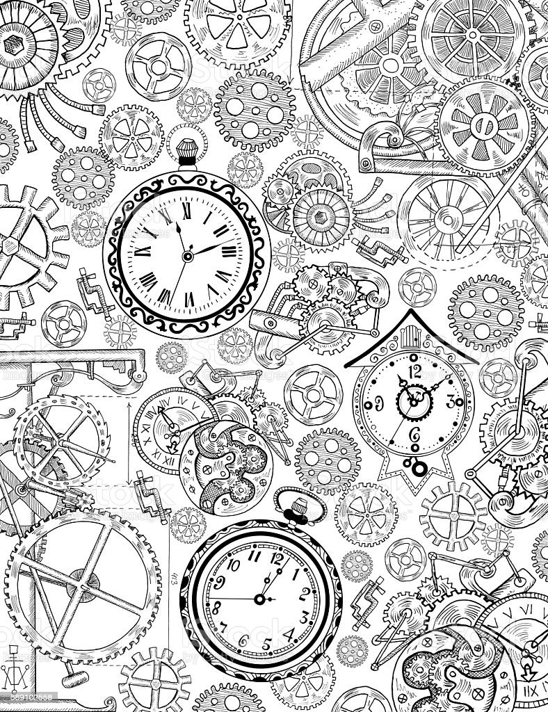 Coloring Book Page With Mechanical Details And Old Clocks Stock ...