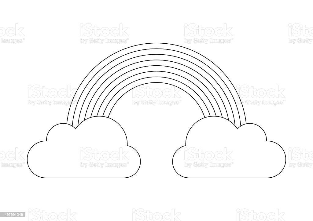 Livre de coloriagearcenciel de nuages de nuage cliparts - Coloriage d arc en ciel ...