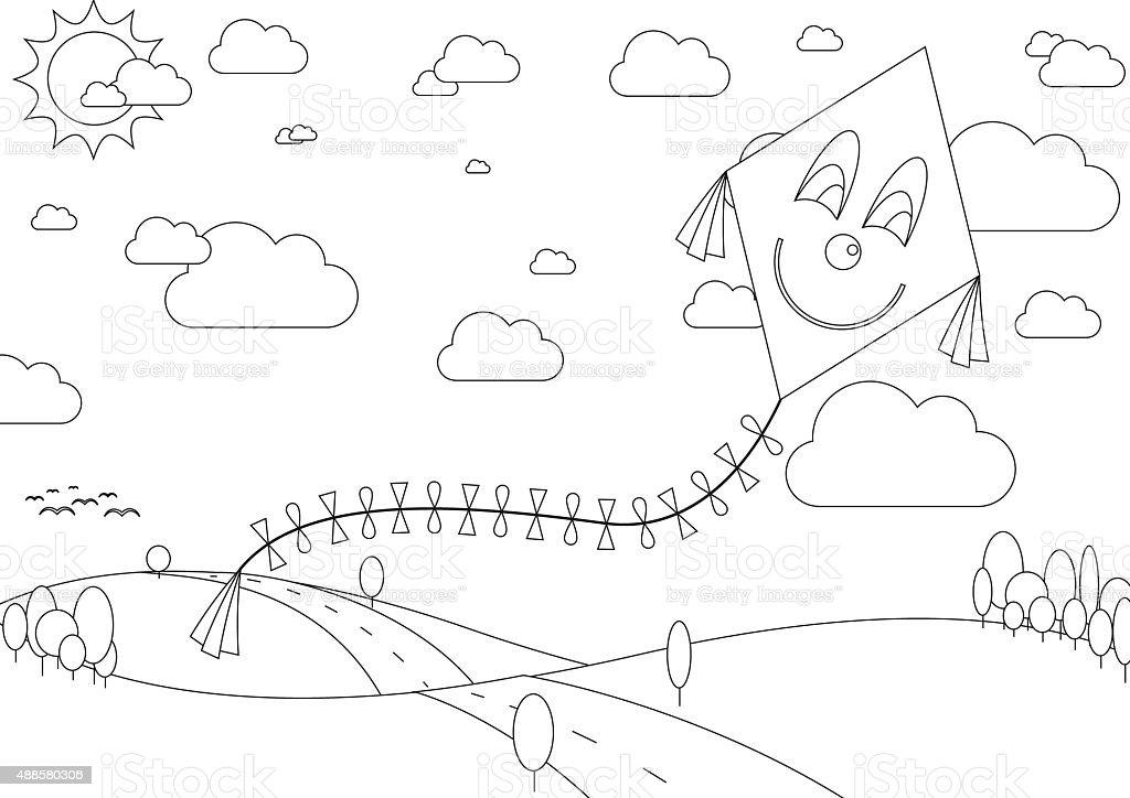 Ilustración de Libro Para Colorear Con Paisaje De Otoño Con Cometa ...