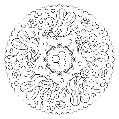 Coloring page mandala for kids with flowers and bees.