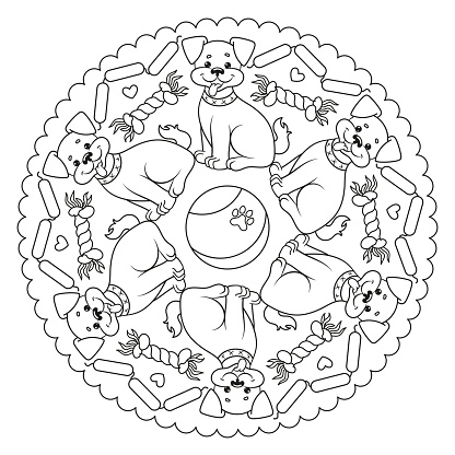 Coloring page mandala with a dog.