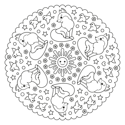 Coloring page mandala with sun, fox and birds.