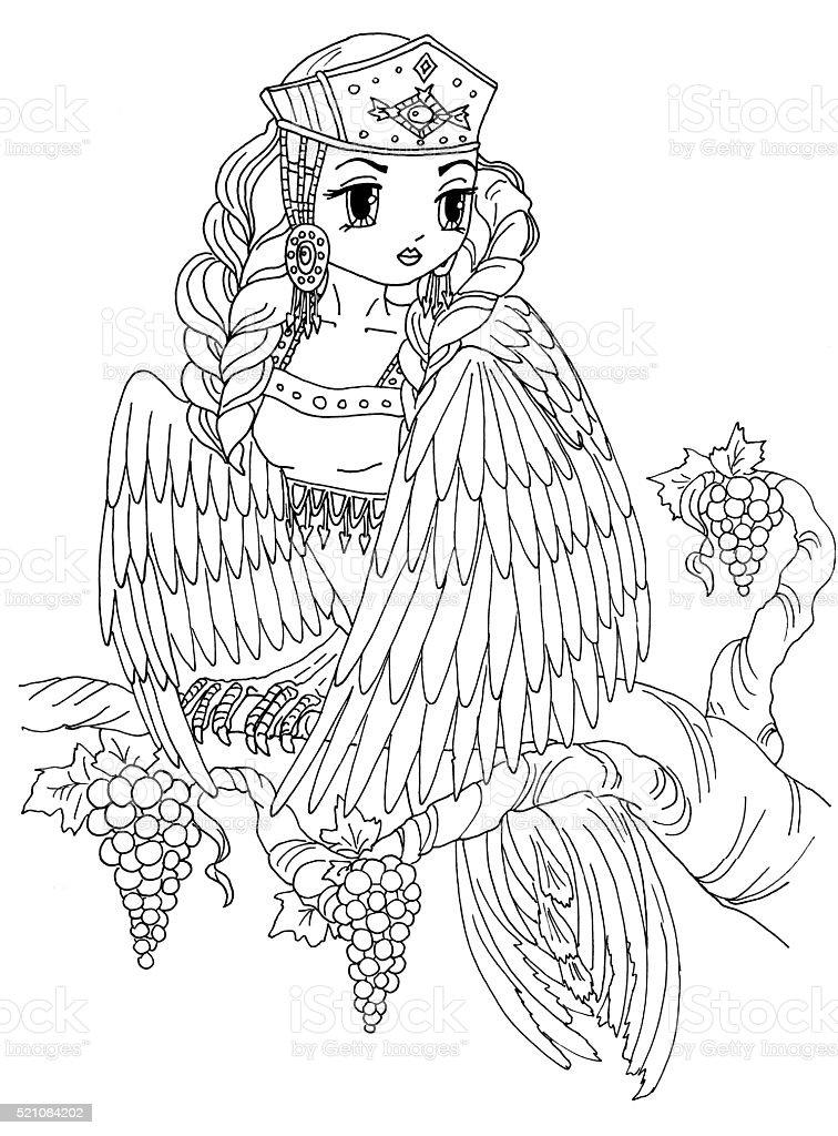 Ilustración de Página Para Colorear De Las Aves Silvestres Señora y ...