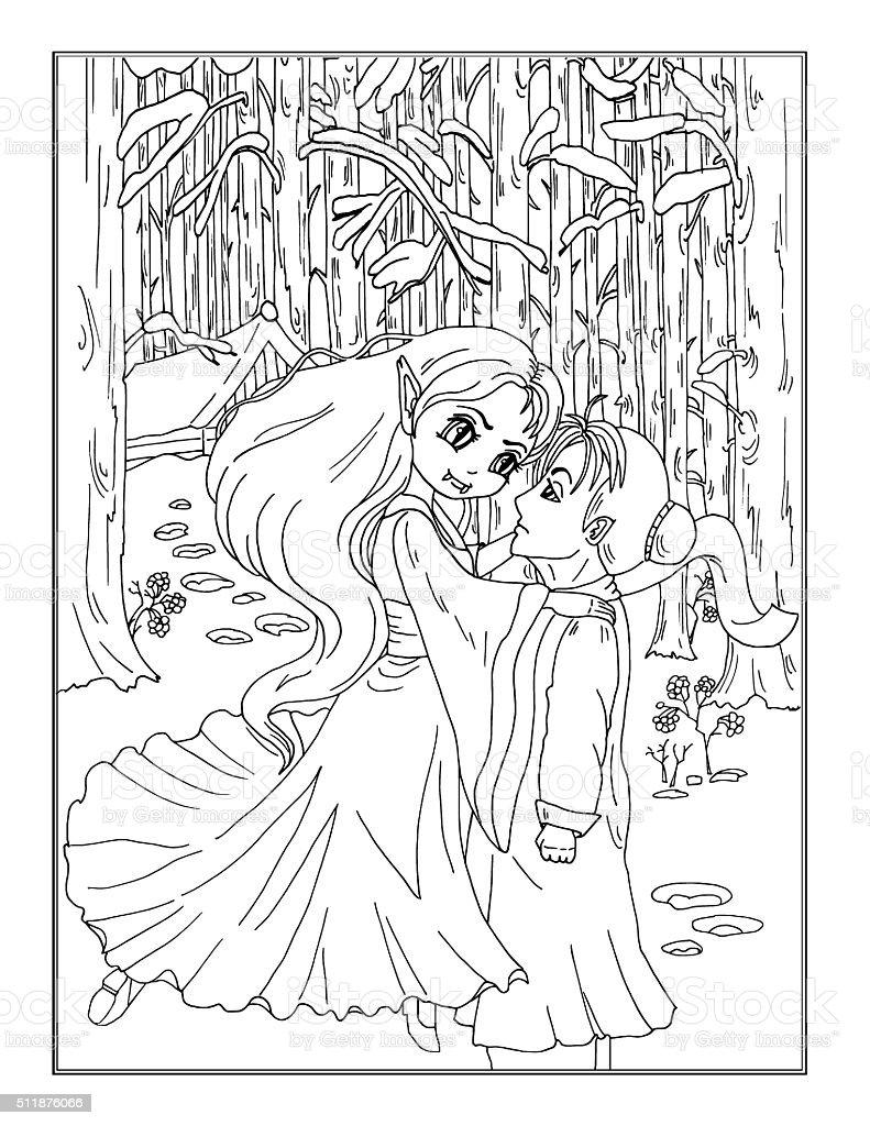 Página Para Colorear Señora Vampiro En El Bosque - Arte vectorial de ...